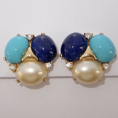 Vintage Ciner Gold Plate Faux Turquoise Lapis Pearl Rhinestone Clip Earrings