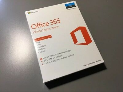 Microsoft Office 365 1 Year Home Subscription Up To 5 Users BRAND NEW AND SEALED