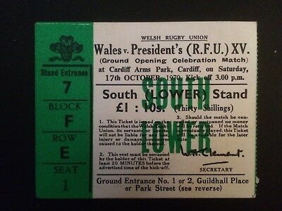 Wales v Presidents XV 1970 Opening of the Welsh international Stadium Arms Park