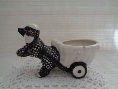 Vintage Napco Black Poodle With Cart