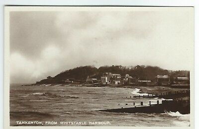1930's Real Photo Postcard Tankerton from Whitstable Harbour Kent