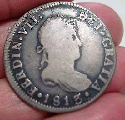 1813 Fj (Santiago-Chile) 2 Reales (Silver) ----Very Scarce----- Rare Type-