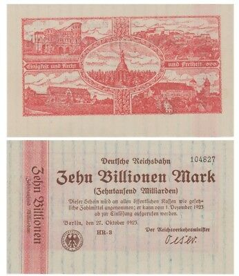 Ten Billions Marks German banknote issued by DeutscheReichsBahn Berlin HR aunc
