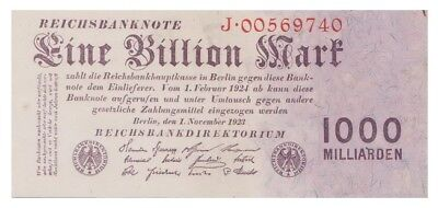 One Billion Marks German banknote issued in 01.11.1923 J xf