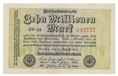 Ten Millions Marks German banknote issued in 22.08.1923 DV-22 aunc