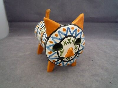 Studio Pottery Cat Italian ? 4 Inch Long 3 1/2 Inch High