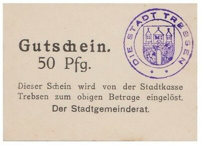 5o Pfennigs German Notgeld issued by Trebsen stadt aunc
