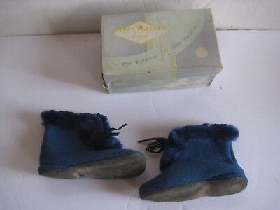 c.1950 CHILD'S BLUE WOOL BOOTS SIZE 3 - WEE WALKER SHOES - ORIGINAL BOX