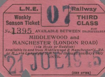 LNER Railway SEASON Ticket MIDDLEWOOD 1395