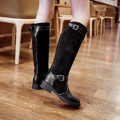 Womens Leather Look Low Heel Riding Biker Flat Ladies Mid Calf Boots Size CB