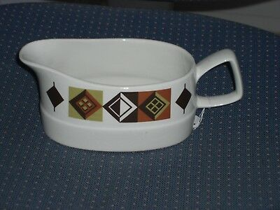 LOVELY 1970s GRAVY/SAUCE BOAT/JUG - WHITE ABSTRACT BROWN/GREEN