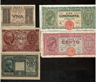 Italy World War Ii Era Notes 1-5-10-50-100 Lire 1944