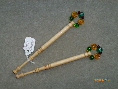 LACEMAKING LACE BOBBINS PAIR EDIBLE BAY LAUREL WOOD - from my garden