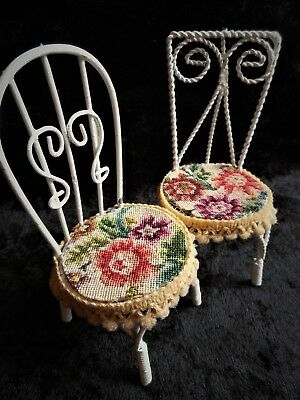 Petit Point Floral Dollhouse Miniature Cafe Chair Finished Needlepoint Set Lot