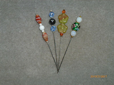 LACEMAKING LACE BOBBINS 4 GLASS BEADED DIVIDER PINS - last ones for now