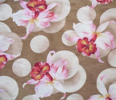 BEAUTIFUL ANTIQUE FRENCH 1920s/30s FINE COTTON, EXOTIC ORCHIDS, REF