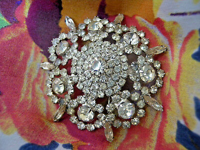 Vintage RHINSTONE Weiss Pin Brooch Signed As Is