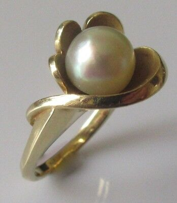 Secondhand 14ct Yellow Gold Single Cultured Pearl Swirl Ring Size M