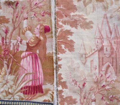 2 BEAUTIFUL FRAGMENTS 19th CENTURY FRENCH TOILE DE JOUY, CASTLE, PROJECTS, REF