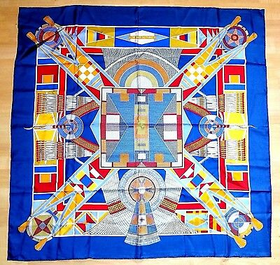 "HERMES PARIS 'L'Art Indien Des Plaines' 35"" x 35"" Blue 100% Silk Scarf FRANCE"