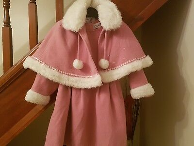 Couche Tot Designer Dress And Fur Cape, Age 4-5 Years