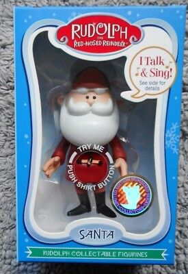Rudolph Collectible SANTA Talking Figurine 4 Phrases NEW in Box