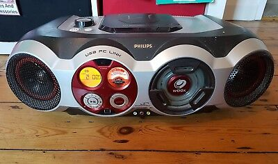 PHILIPS STEREO CD PLAYER BOOMBOX/GHETTOBLASTER az2555  USB PC LINK Radio