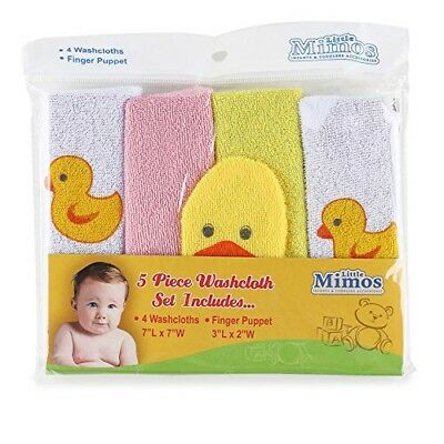 NEW Little Mimos Duck Washcloths and a Finger Puppet - 5pc Set