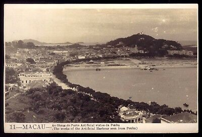 MACAU / MACAO Works of artificial Harbour seen from Penha. Vintage Postcard ASIA