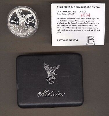 1991 Mexico Proof One Ounce Silver Libertad Coin