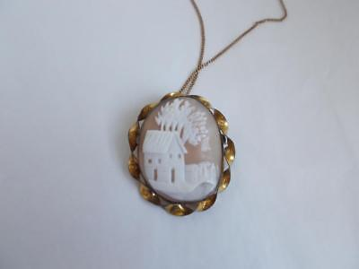 Antique Hand Carved VILLAGE CAMEO Engraved TWISTED gold trim BROOCH PENDANT