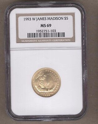 1993-W US James Madison Gold Commemorative UNC $5 Coin NGC MS69
