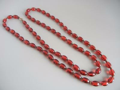 """Vintage Chinese 43"""" Necklace Red Bead Peking Glass Style"""