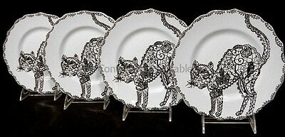 """NEW! 222 Fifth China WICCAN LACE - BLACK CAT (4) Plates 8-1/2"""" HALLOWEEN"""