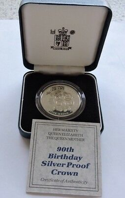 1990 Royal Mint Silver Proof Crown Queen Mother 90th Birthday With Case And COA