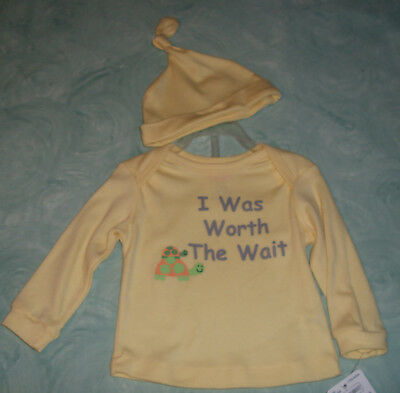 I Was Worth The Wait Yellow Long Sleeve Shirt & Tied Hat 6/9 M New NWT Turtle