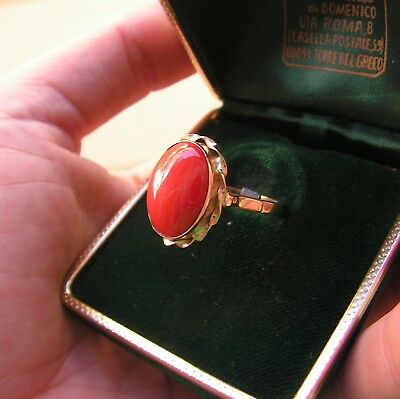 Vintage 18k Solid Yellow Gold Red Coral Italy Sardinia Ring Sz 7 Cabochon 15 11