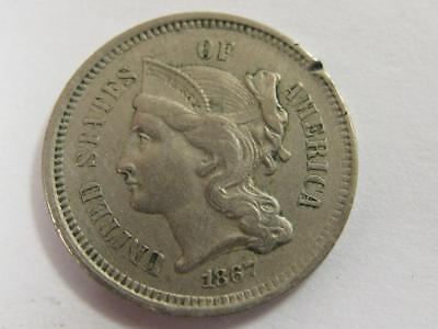 1867 Three Cent Nickel Liberty On Head  Rim Nick Great For The Book