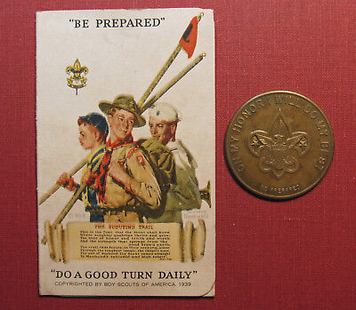 Boy Scout Oath Medal & Vintage Personal Record With Norman Rockwell Artwork!