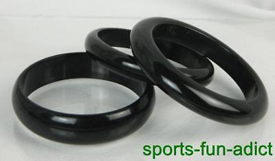 "Vintage Lot of 3 Jet Black Licorice Bakelite Smooth 7 7/8"" Bangle Bracelets"