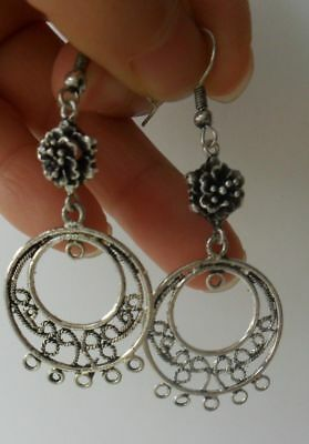 Tribal exotic chinese handmade miao silver earring (free S&H)