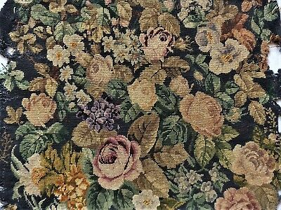 Victorian Vtg Antique Floral Micro Petit Point Finished Completed Needlepoint