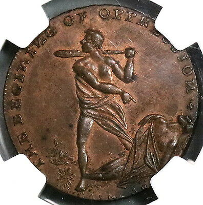 1790s NGC MS 63 SPENCE Cain & Abel Conder 1/2 Penny Middlesex DH 768 (16112407C)