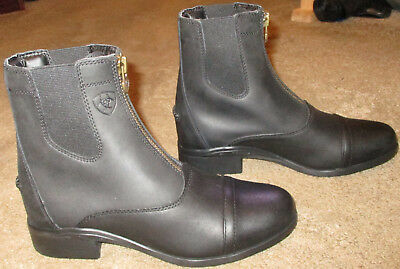 New Wmns ARIAT Scout Zip Paddock Black Leather Ankle Boots sz 7 B