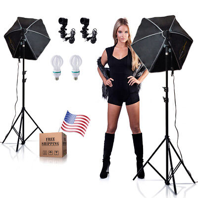 "|2| 24"" Octagonal Reflector Soft Box Continuous Lighting Photography Photo Kit"