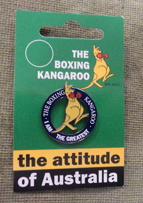 #d23. Boxing Kangaroo Badge - I Am The Greatest (Blue Outer Ring)