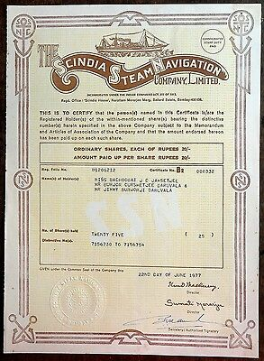 India 1977 Scindia Steam Navigation Co share certificate
