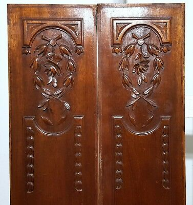 Carved Wood Panel Matched Pair Antique Flower Louis Xvi Architectural Salvage