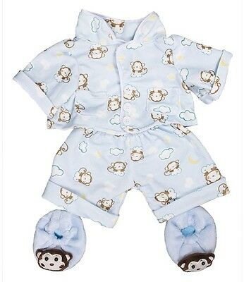 "Blue monkey pyjamas pjs & slippers outfit teddy clothes fits 15"" Build a Bear"
