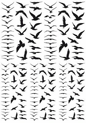 "Tiny Birds in Flight   5"" X 3-1/2"" Card Black Fused Glass Decals 17CC890"